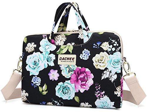 Dachee Black Flowers Patten Waterproof Laptop Shoulder Messenger Bag Case Sleeve for 14 Inch 15 Inch Laptop Case Laptop Briefcase 15.6 Inch