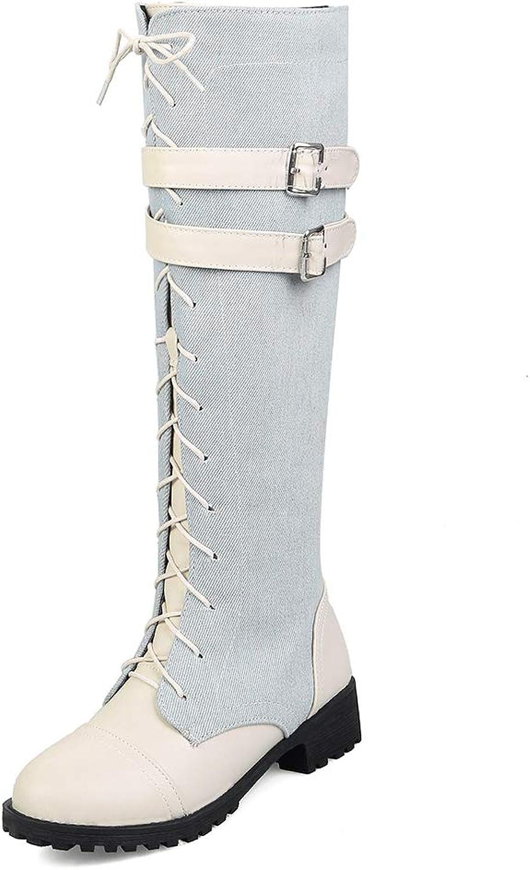 SENERY Women Zipper Martin Riding Boots Fashion Denim Winter Knee-high Boots Round Toe Thigh High Booties