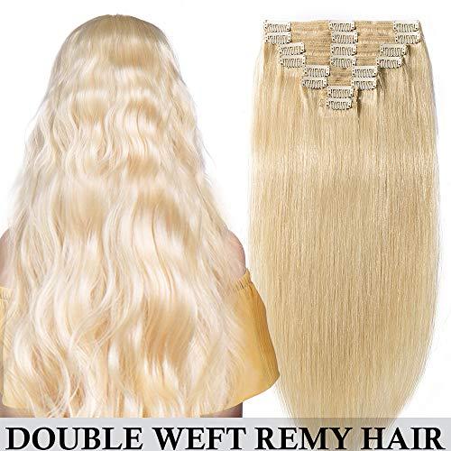 Extension Cheveux Naturel a Clip Blond Double Epaisseur Tête Entière - Remy Human Hair Double Weft 8 Pcs Extensions (#613 Blond très clair, 30cm-115g)