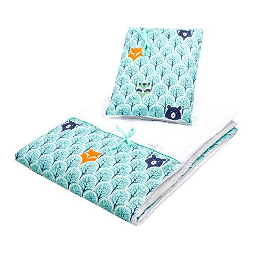 Babyboom Bettwäsche für Baby Kinder Kleinkinder/ 100% Baumwolle/sicherer Reißverschluss/ 2-teilig: Bettbezug 100x135cm +Kissenbezug 40x60cm (Waldtiere)