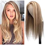 Ombre Lace Front Wig Human Hair Highlights Ash Brown to Golden Blonde Straight Remy Human Hair Wigs Pre Plucked Hairline Middle Part 13x1 Deep Part Lace Front Wigs for Women 22' 150% Density