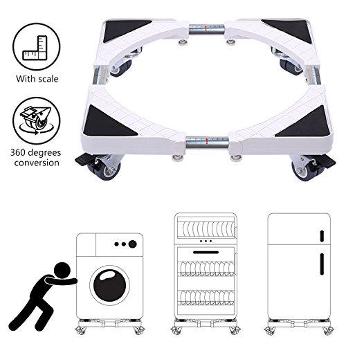 Dewel - Base per lavatrice, base regolabile da 45 cm a 70 cm, con 4 ruote girevoli doppie in gomma, supporto per lavatrice, asciugatrice e frigorifero, girevole a 360°