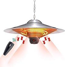 DMZH Paraguas Forma Calefacción con Control Remoto, 1000/1500/2500W Equilibrado Colgando Halógeno Calentador Diámetro 74CM