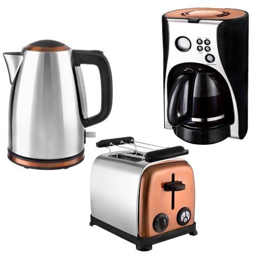 Kalorik Frühstücksset JK 1050 + TO 1050 + CM 1050 Wasserkocher, Toaster und Kaffeemaschine Edelstahl Copper Kupfer