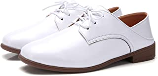 AUCDK Women Oxfords Leather Casual Flat Shoes Vintage Style Lace Up Casual Shoes Low Top Ladies Brogues