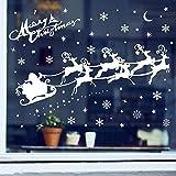 ASANMU Fensterbilder Weihnachten Fenstersticker 4 Stücke 43 * 30 cm Wiederverwendbare Winterliche Fenster Aufkleber Wandtattoo PVC-Sticker Schneekristallen und Schneesternen (Weihnachtshirsch)