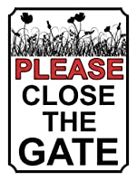 BALTER PLEASE CLOSE THE GATE ROSE GARDEN ティンサインアンティークプラークヴィンテージアルミニウム壁の装飾 Tin Sign Antique Plaque Vintage Aluminum for Wall Decor 8x12 Inch
