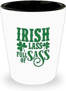 St Patrick's Day Shot Glass Irish Lass Full of Sass Funny Drinking Ceramic Cup Cute Irish Gift for Men Women 1.5 Oz