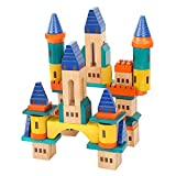 Wooden Castle Building Blocks Toy Set Big Solid Beech Wood Block Construction Playset for Kids Fantasy Medieval Castle with Bridges and Arches 69 Pieces Set