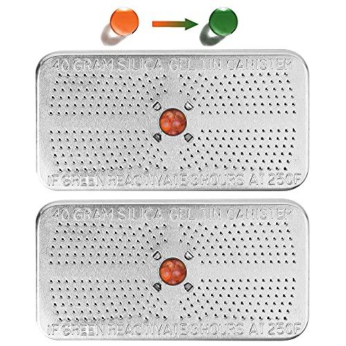 2 Pack 40Gram Silica Gel Desiccant Canister (Orange to Dark Green), Reusable Desiccant Dehumidifier for Closet, Car, Cabinet, Bag