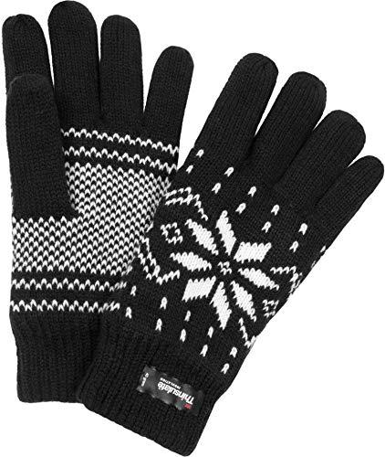 normani Strick Fingerhandschuhe mit Thinsulatefütterung Winterhandschuhe Farbe Norweger/Schwarz Größe M