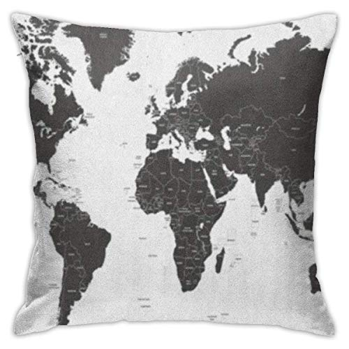 Bue Time Funda de Almohada para sofá Dormitorio Coche país Negro Mundo político Mapa Europa América Sur Brasil Portugal