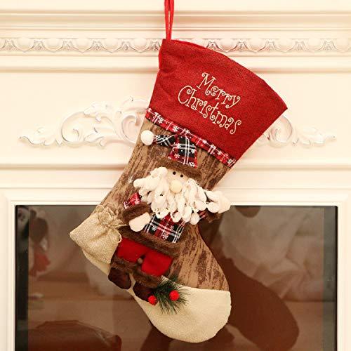 Byou Nikolausstrumpf,Weihnachtsstrumpf Baumwolle und Leinen Große Öffnung mit weihnachtlicher Stickerei für Weihnachtsbaum Kaminwand Dekorationen
