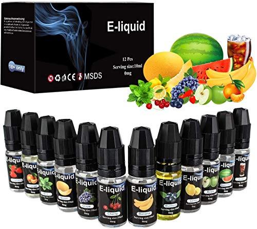 E Liquids 12 X 10ml, E-liquids ohne Nikotin, 12 Aromen E-Zigaretten Liquid Set 50PG/50VG Refill Electronic Cigarette, für E Zigaretten/Elektrische Zigarette/E Shisha (MEHRWEG)