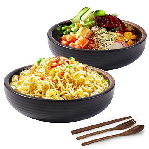 Juego de cuencos grandes de Ramen, 2 cuencos de 2000 ml para servir sopa con cucharas, palillos y tenedores, para fideos Udon Pho sopa de cereales y arroz – tradicional japonés hecho a mano