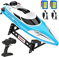 TECBOSS Remote Control Boat 20 MPH Fast RC Boat for Kids and Adults with 4 Lamps, 4 Channel 2.4GHz Radio Control Speedboat Low Battery Alarm Capsize Recovery with 2 Rechargeable Boat Batteries (Blue)