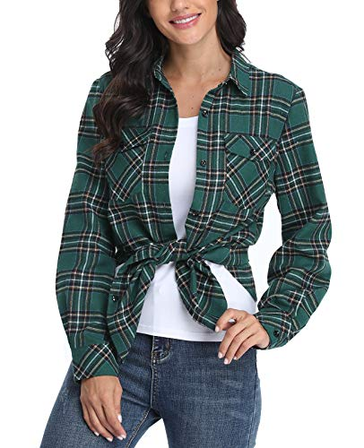 CYiNu Women Button-Down Shirts Regular Fit Long Sleeve Plaid Flannel Casual Shirt Blouses (Green,XL
