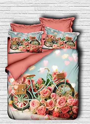 3D Fahrrad Bettbezug Set | Double Duvet Cover Set |% 100Baumwolle | 200x220 Double | 4er Set Bettwäscheset mit Bettbezug, Laken und Kissenbezug | 4 in 1 with Duvet Cover, Sheet and Pillow Covers