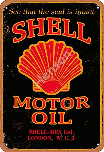 Henson See That The Seal is Intact Shell Motor Oil Shell Mex Lid London Vintage Tin Sign Logo 12 * 8 inches Advertising Eye-Catching Wall Decoration