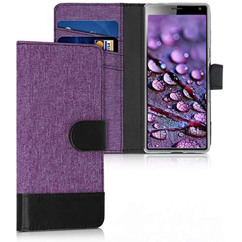 kwmobile Hülle kompatibel mit Sony Xperia 10 - Kunstleder Wallet Hülle mit Kartenfächern Stand in Violett Schwarz