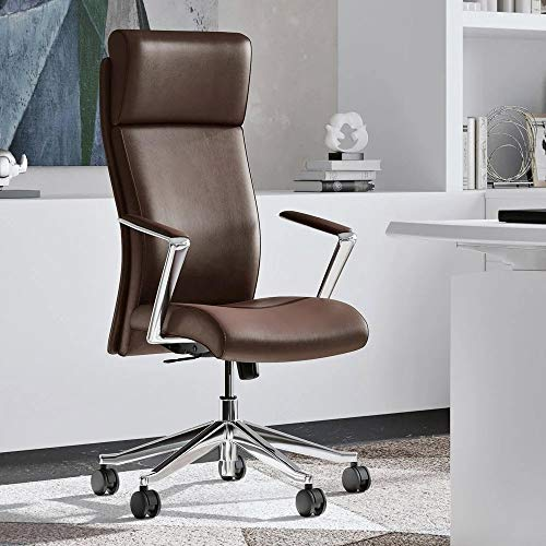 Modern Ergonomic Draper Genuine Leather Executive Chair with Aluminum Frame - Dark Brown