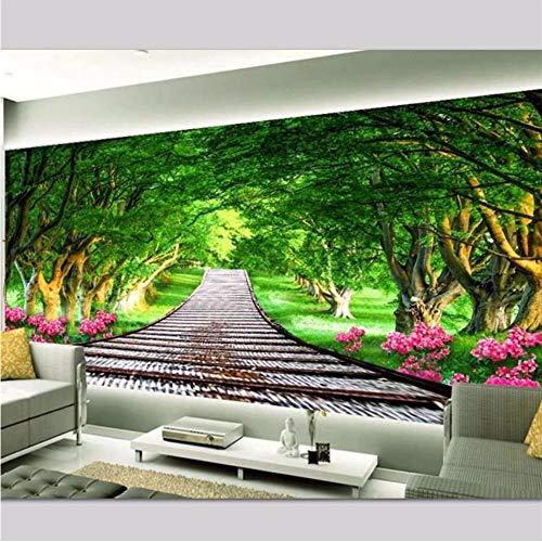 Wuyii Gepersonaliseerde achtergrond voor de woonkamer, modern en minimalistisch, hout, landschappen, muren, HD-open haard, groen hout, tv-achtergrond, achtergrond E 280 x 200 cm