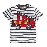 Tarkis Kinder T-Shirt Baumwolle Streifen Feuer Cartoon Auto Muster Jungen Mädchen Kurzarm Oberteil Pullover Größe (98(Herstellergröße 100), 1-Feuerwehrauto)