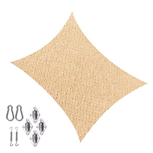 Cool Area SS-18522-R Shade sail 13' X 19'8'' with Hardware, Sand