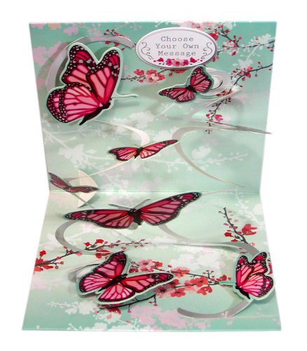 3D Greeting Card - PINK BUTTERFLIES - All Occasion