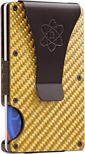 Cartera minimalista de fibra de carbono para hombres – carteras RFID para hombres titular de la tarjeta de crédito Clip de dinero de metal – Cartera rígida delgada para hombre