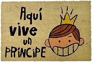 KOOK TIME 135404 Felpudo Aquí Vive Un Principe, Marrón, 40 x 60 cm