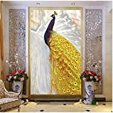 Living Equipment Mural Papel tapiz fotográfico personalizado Estilo europeo Mural de pavo real dorado Estilo chino Sala de estar Pasillo de entrada Decoración para el hogar Pintura de pared 3D Mura