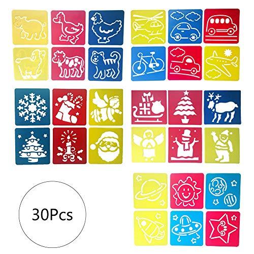 BETOY Stencil per Pittura in Plastica, 30 Pezzi Stencils Stampini Stampini da Disegno Bambini Adatto per Pittura Fai-da-Te, Istruzione Scolastica, Giochi per Famiglie, Stili Assegnati in Modo Casuale