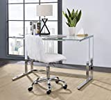 Knocbel Contemporary Computer Desk Home Office Workstation Writing Table with Tempered Glass Top & Metal Frame, 47' L x 24' W x 30' H (Clear and Chrome)