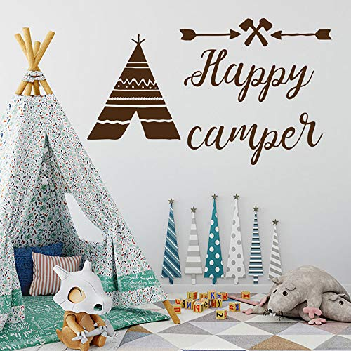 JXWR Tipi Zelt Wandaufkleber Vinyl Wohnkultur Kinderzimmer Kindergarten Applikation niedlich Pfeil Zitat glücklich Camping Steinzeit Wandbild 95x57 cm