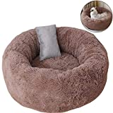 TINTON LIFE Luxury Plush Pet Bed with Pillow for Cats Small Dogs Round Donut Cuddler Oval Cozy Self-Warming Cat Bed for Improved Sleep, Coffee L