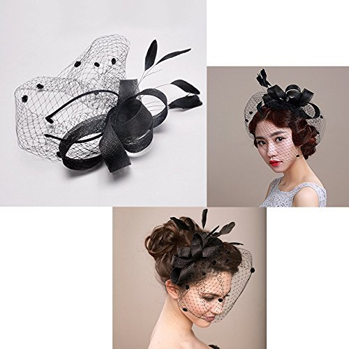 Itian Retro Bride Headdress Women s Bowknot Hat For Wedding Cocktail And  Party Hair Clip Hat ( 880675f416dd