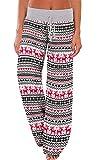 AMiERY Women's Christmas Pajamas Pants Sleep High Waisted Lounge Palazzo Pants Xmas Pajama Bottoms Pants Reindeer S