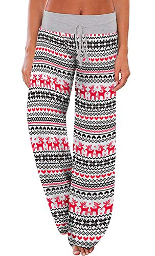 AMiERY Women's Christmas Pajamas Pants Sleep High Waisted Lounge Palazzo Pants Xmas Pajama Bottoms Pants Reindeer Medium