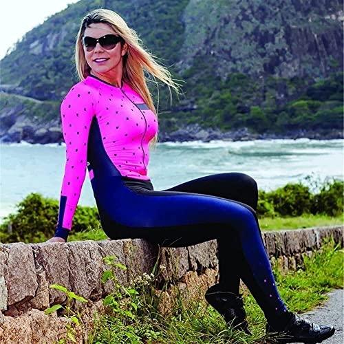 Damen Trikot Sets Radanzug Einteilig Langarm Lange Hose Fahrradrennen Triathlon Radfahren Mit Taschen/9D Gel Pad (Color : 2, Size : Small)