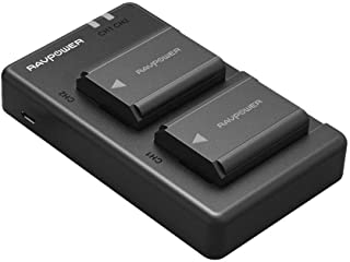 NP-FW50 RAVPower Camera Battery Charger Set for Sony A7, A7SII, A7R, A7RII, A6000, A6500, A6300, A55, A5100, RX10 II (2-Pa...
