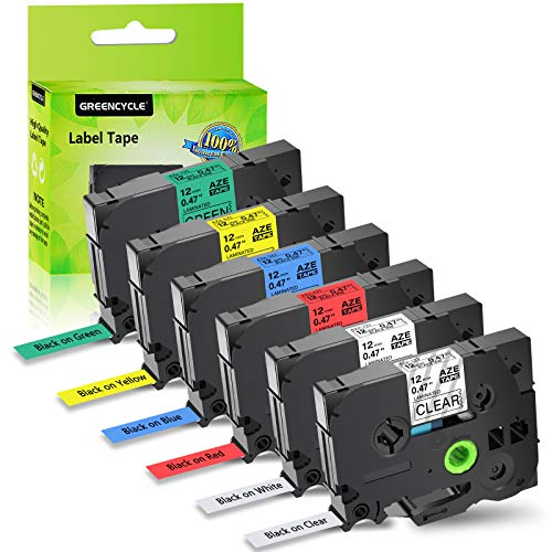 """GREENCYCLE 6 Pack Multi Color Combo Set Compatible for Brother P-Touch Standard Laminated Label Tapes TZ131 TZ231 TZ431 TZ531 TZ631 TZ731 12mm x 8m, 1/2"""" x 26.2ft"""
