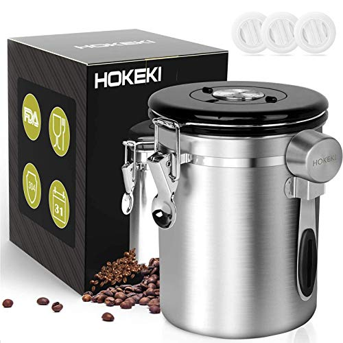 Airtight Coffee Canister, HOKEKI Stainless Steel Container for the Kitchen, Coffee Ground Vault Jar With One Way Co2...