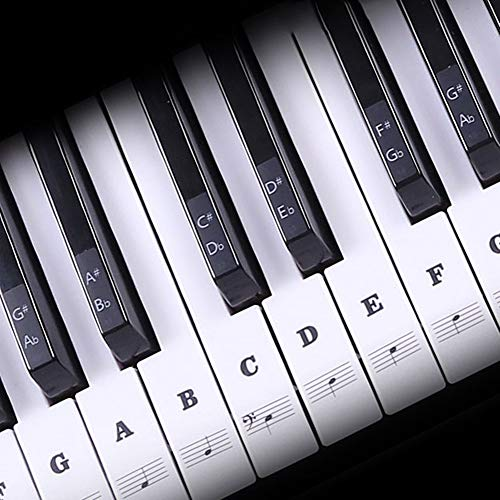 Piano Keyboard Stickers for 88/61/54/49/37 Key, Transparent and Removable Notes Label Leaves No Residue for Beginners and Kids Learning Piano - Black