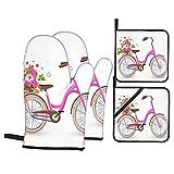 FAKAINU Guantes y agarraderas para Horno, Bicicleta Rosa con Carro Lleno de Flores y Corazones por pétalos Aislado en Concepto de Amor,Guantes Resistentes al Calor Guantes aislantes , para cocinar