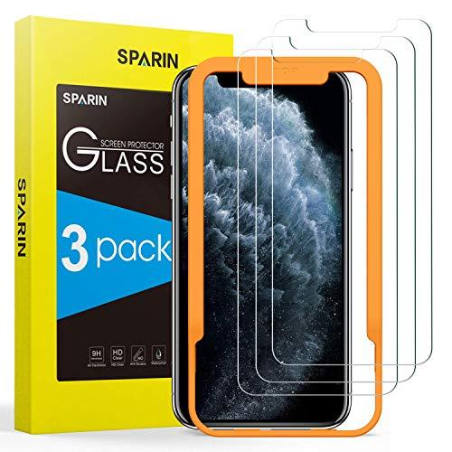 SPARIN [3 Pezzi Compatibile con iPhone 11 PRO/iPhone XS/iPhone X 5,8 Pollici Pellicola Vetro Temperato, Vetro Temperato con [Strumento per Una Facile Installazione]