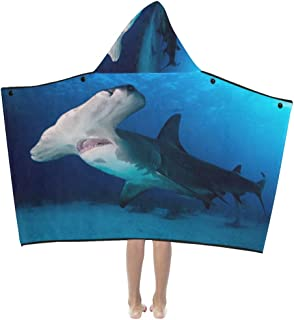 Fierce Awful Shark Soft Warm Cotton Blended Kids Dress Up Hooded Wearable Blanket Bath Towels Throw Wrap for Toddlers Child Girls Boys Size Home Travel Picnic Sleep Gifts Beach