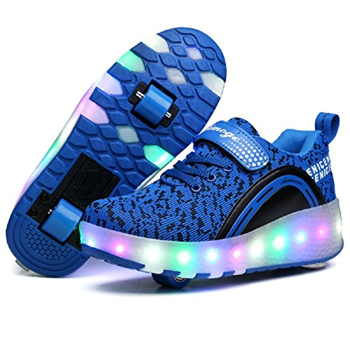 Nsasy Roller Shoes Girls Boys Wheel Shoes Kids Roller Skates Shoes LED Light Up Wheel Shoes for Kids...