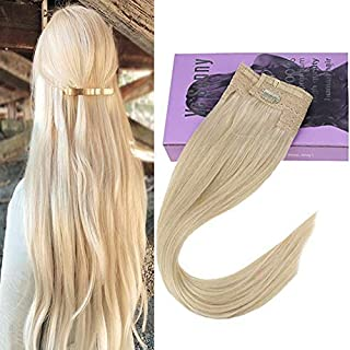 VeSunny 18inch Human Hair Halo Extensions Blonde #60 Secret Halo Hair Extensions Straight Remy Human Hair 11inch Width 80G/Set