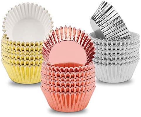 Camisin Folie Cupcake Liners Muffin Papieren Gevallen Bakken Cups Goud Zilver Rose Gold Pack van 300
